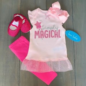 Glittery Baby Pink 4 Piece Outfit Bundle Set